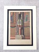 1857 Antique Architectural Print Basilica of San Francesco d'Assisi Polychrome