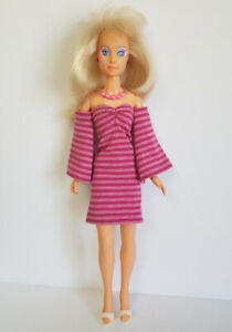 Hasbro Vintage JEM Clothes Striped DRESS & NECKLACE Handmade Fashion NO DOLL d4e