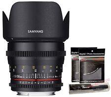 Samyang 50mm T1.5 Cine VDSLR AS UMC Full Frame Standard Lens for Nikon + GIFT