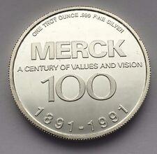 1991 MERCK & CO, INC 100TH ANNIVERSARY 1 TROY OZ .999 SILVER ROUND