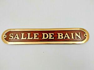 Plaque de porte bois et laiton SALLE DE BAIN longueur 26cm pour la maison,bateau