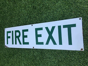 Original Vintage enamel Sign FIRE EXIT