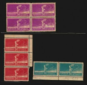 Soccer Football World cup Olympic 1924 Uruguay MLH #282-284 block of 4 3 & pair