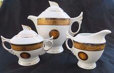 Medusa Golden Head Face Porcelain China Teapot,  Sugar and Creamer Set