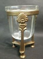 Vintage Ornate Brass Holder Pillar Candle Decorative Taiwan 3 Legged Glass Bowl