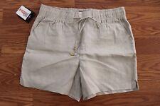 NWT Womens ELLEN TRACY COMPANY Sandstone Khaki Linen Shorts Size XL $59.50