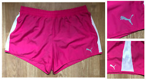 PUMA WOMEN'S LINED HOT PINK / WHITE Active Running Workout Gym Shorts sz XL