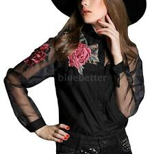 Women's Embroidery Floral Long Sleeve Organza Shirt Fashion Party Blouse B5Q8