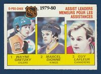 ASSIST LEADERS GRETZKY DIONNE LAFLEUR 80-81 O-PEE-CHEE  1980-81 NO 162 EXMINT+