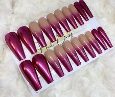 Pink Chrome Ombre False Press On XL Ballerina Nails Set