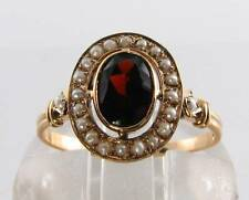 DIVINE 9CT 9K GOLD AFRICAN GARNET & SEED PEARL ART DECO INS RING FREE RESIZE