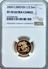 More details for 2009 gold proof 1/2 sovereign half ngc pf70 ultra cameo great britain sov