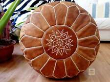 Leather Tan Pouf with white Stitching 100% Moroccan handmade Unstuffed footstool