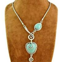 Fashion Sterling Silver 925 Blue Turquoise Necklace Heart Bib Collar Jewelry