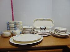 1938 51 Pc HLC Swing Eggshell Blue Flax Dinnerware Set Service For 8 + Serving