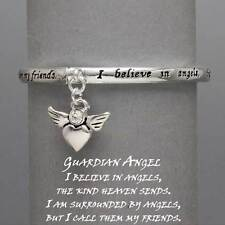 Guardian Angel Charm Stretch Bracelet SLVR Believe Friend Positive Quote Jewelry