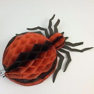 Lot 2 Vtg Halloween Honeycomb Hanging Spider & Round Ball Orange Black Decor