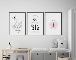 Set of 3 Dream Big Swan Butterfly Pink Black Prints Nursery Girls Room Wall Art