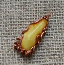 10.8 gr Genuine natural baltic amber pendant necklace egg yolk butterscotch 天然琥珀