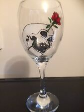 Gothic Skull And Rose Clear Stem Hand Painted Large Wine Glass Uk