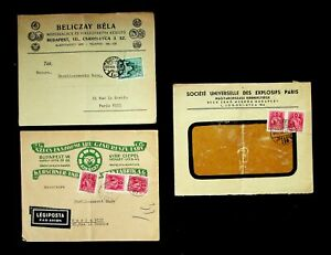 HUNGARY 1939-40 3 COVERS W/ 6v, 1 WINDOW, 1 AIRMAIL FROM BUDAPEST TO FRANCE
