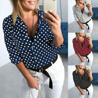 UK Womens Summer 3/4 Sleeve Polka Dot T-Shirt Ladies Casual Beach Tops Blouses