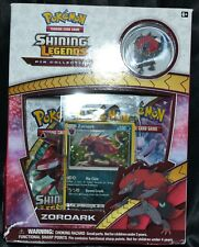 Zoroark Shining Legends Pin Collection Box Pokemon Trading Cards 3 Booster Packs
