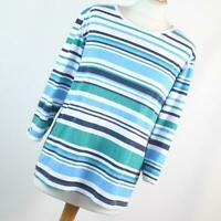 Anne de Lancay Womens Size M Blue Striped Basic Tee
