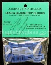 Stained Glass Supplies - Aanraku Lead Stop Blocks - Pkg of 25.  Glass support