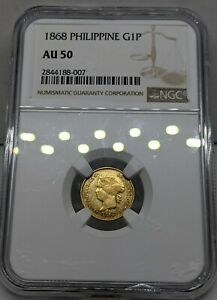 1868 Spanish Philippines Gold 1 Peso. NGC AU50. Scarce in this Quality.