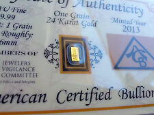 Acb 24K Gold Vertical1Grain Solid Bullion Bar 99.99 Fine Certificate