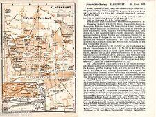 Klagenfurt 1913 Stadtplan, Karte + Reisef. (2 S) Maria Loretto Priesterhaus Tram