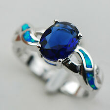 Blue Sapphire Blue Fire Opal Silver Gold Filled Gemstone Ring Size 10 R1210