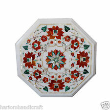 "12"" Marble Side Coffee Table Top Carnelian Inlaid Elegant Living Room Decor H361"