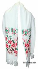 MEXICAN Rebozo Shawl WHITE with Red Peacock Design SOUTHWESTERN Scarf Wrap