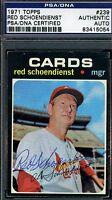 Red Schoendienst Signed Psa/dna 1971 Topps Certified Authentic Autograph