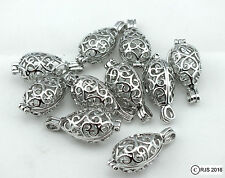 Pick A Pearl Cage Silver Plated Teardrop Heart Scroll 10 Cage Lot Essential Oil