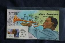 Louis Armstrong Jazz Musician 32c Stamp FDC Handpainted Collins#Z2401 Sc#2982