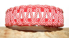 BioThane & Paracord Red & White Reflective Dog Collar w Stainless Steel Hardware