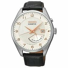 Seiko Kinetic Cream Dial Black Leather Mens Watch Srn049