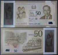 SG50 2015 SINGAPORE PORTRAIT POLYMER 50 DOLLARS W/1 STAR P-61 UNC