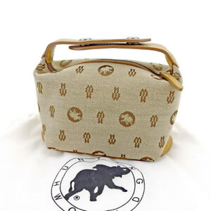 HUNTING WORLD Pouch Bag Beige Brown Woman unisex Authentic Used T5255
