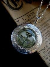 Esqueleto Medallón Collar Colgante Plata Vintage De Fantasía Gótica Calavera Steampunk