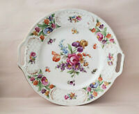 "SCHUMANN China - DRESDEN FLOWERS Pattern - 7 3/8"" Handled CAKE PLATE"