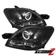 Black Halo Angel Eye Projector LED Headlight+DRL 07-11 Toyota Yaris 4DR Sedan