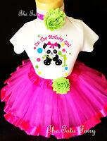 Panda Rainbow Hot Pink Baby Girl 1st First Birthday Tutu Outfit Shirt Set