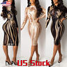 Sexy Women Sequin Dress Sheer Lady Printed Long Sleeve Bodycon Party Cocktail US