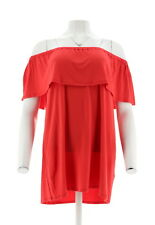 Antthony Pleasing Pleat Off-Shoulder Ruffled Flounce Knit Top Red 2X # 556-437