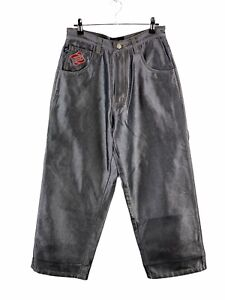 Snoop Dogg 213 Denim Metallic Jeans Size 27 Black Silver High Waist Wide Leg Zip
