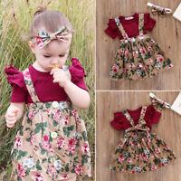 3PCS Newborn Infant Baby Girl Outfits Clothes Set Romper Tops+Floral Strap Dress